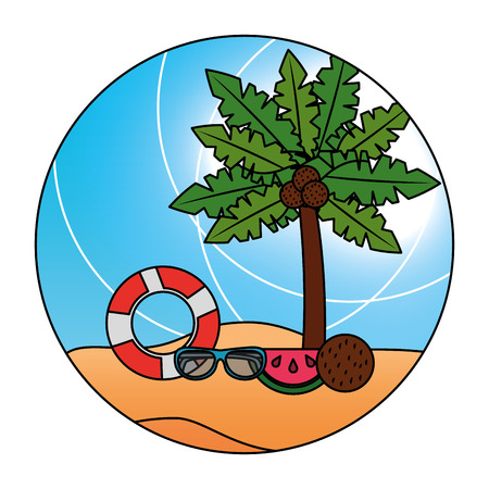 Beach tropical scene palm coconut fruit sunglasses sunlight vector illustration 向量圖像