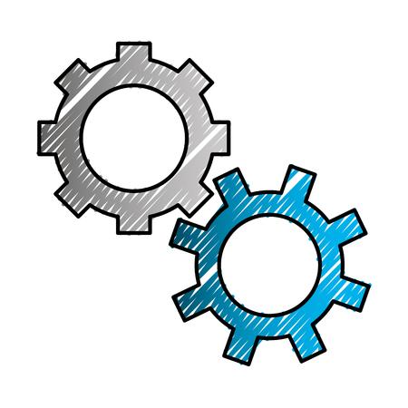 gears mechanical cogwheel work icon vector illustration