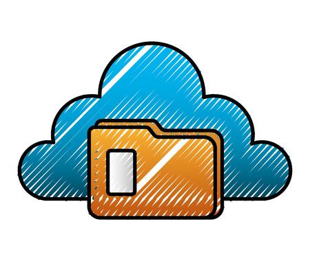 Cloud storage folder file archive image vector illustration