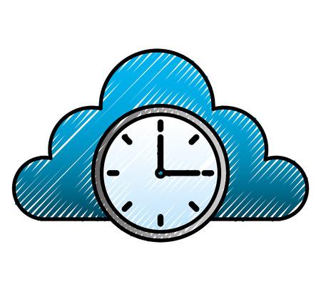 cloud storage clock time work image cloud storage clock time work image Ilustração