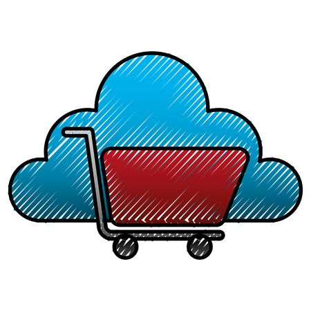 Cloud storage shopping cart market store vector illustration