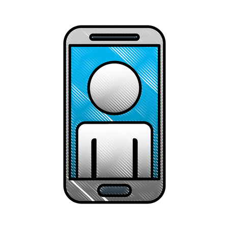 Smartphone device digital avatar on screen vector illustration