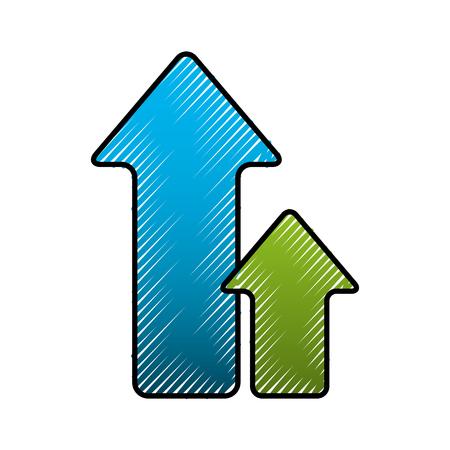 緑と青の矢印アップロード方向ベクトルのイラスト