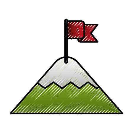 mountain with flag in the top achievement vector illustration