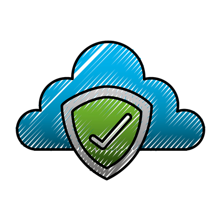 cloud storage shield protection check mark vector illustration
