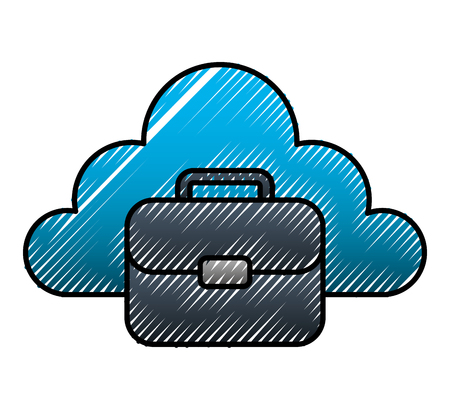 Cloud storage with business suitcase vector design.