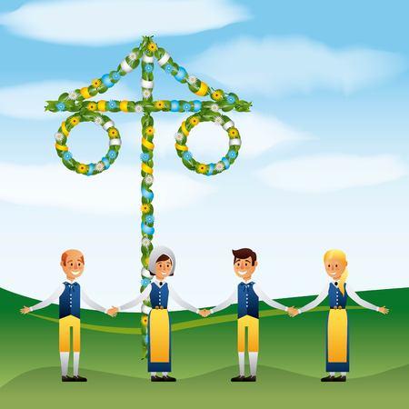 Midsummer Swedish celebration people holding hands in the field vector illustration Illustration