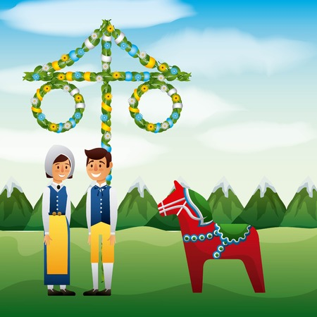 Midsummer swedish celebration with couple in field and woodhorse statue traditional festival vector illustration
