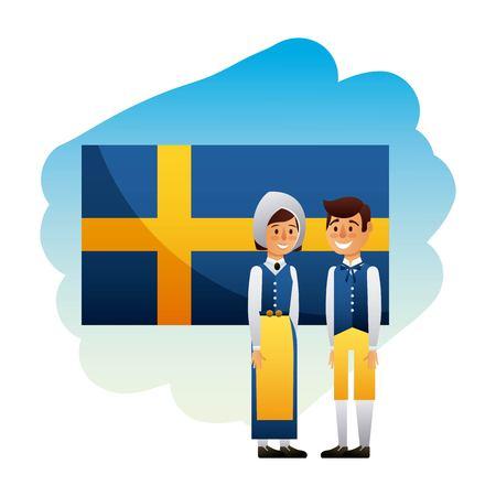 Midsummer swedish celebration with flag of sweden and couple smiling vector illustration Illustration