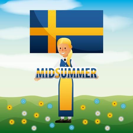 花ベクターイラストとフィールドでスウェーデンの女性とフラグと真夏のスウェーデンのお祝い  イラスト・ベクター素材