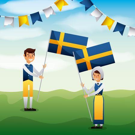 Midsummer swedish celebration with girl and boy holding flag of sweden vector illustration
