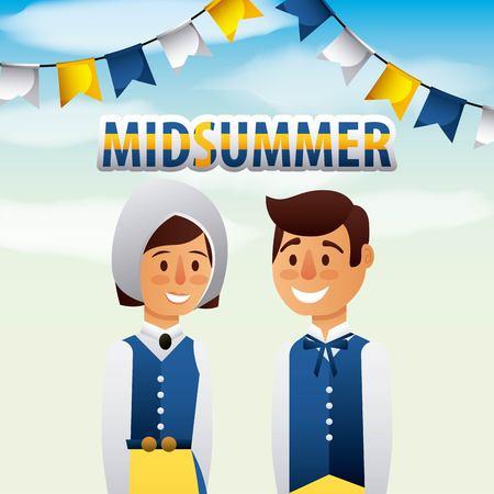 Midsummer swedish celebration with boy and girl smiling vector illustration