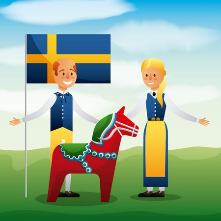 Midsummer celebration with people wearing traditional clothes, swedish flag and woodhorse vector illustration Illustration
