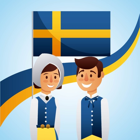 Midsummer celebration with happy couple in traditional swedish clothes vector illustration