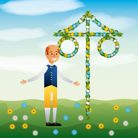 Midsummer swedish celebration with a bald man wearing traditional costume vector illustration
