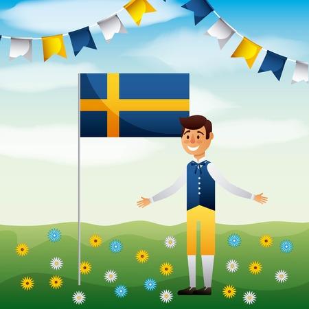 midsummer swedish celebration smiling boy pennants with flag vector illustration Illustration