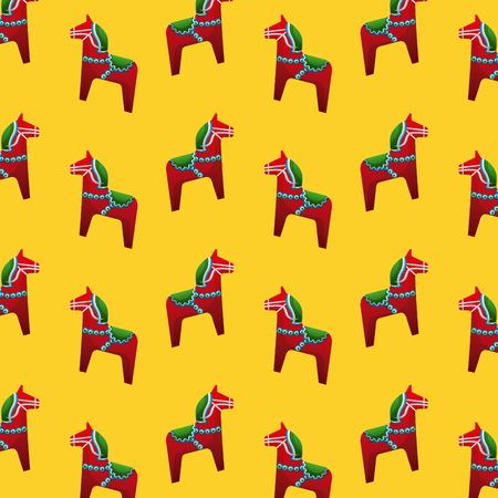 midsummer swedish celebration yellow background with woodhorses folk culture vector illustration