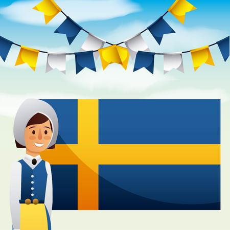 midsummer swedish celebration girl traditional clothes pennants flag vector illustration