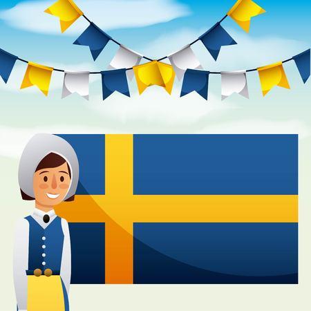 midsummer swedish celebration girl traditional clothes pennants flag vector illustration