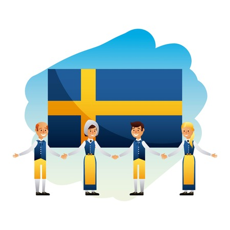 midsummer swedish celebration happy people behind flag sweden vector illustration
