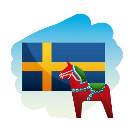 midsummer swedish celebration woodhorse with sweden flag vector illustration