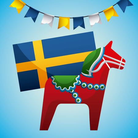 midsummer swedish celebration pennants flag sweden woodhorse vector illustration