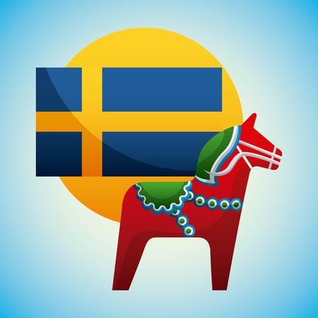 midsummer swedish celebration flag sweden woodhorse background vector illustration