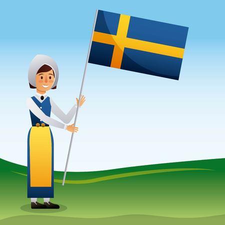 midsummer swedish celebration woman holding up flag sweden vector illustration Illustration