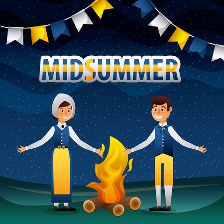 midsummer swedish celebration woman and man smiling bonfire night pennants vector illustration
