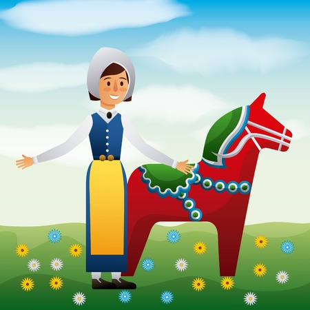 midsummer swedish woman with woodhorse field with flowers vector illustration Illustration