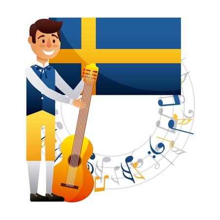 ギター音楽ハッピーベクターイラストと真夏のスウェーデンの少年