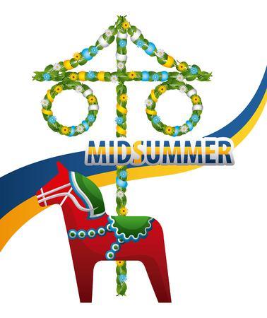 midsummer swedish celebration woodhorse maypole flag vector illustration