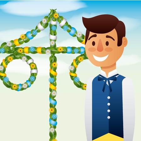 midsummer swedish celebration smiling boy with maypole traditional vector illustration