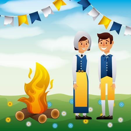 midsummer swedish boy and girl smiling bonfire vector illustration