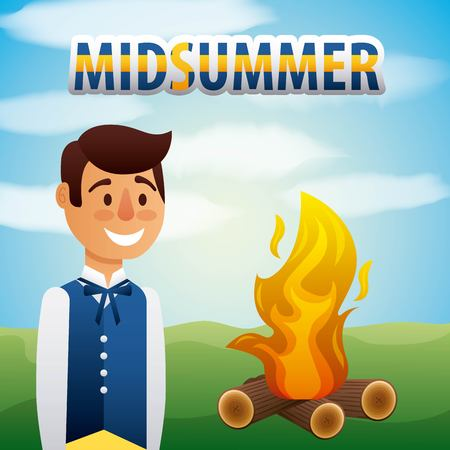 midsummer swedish celebration happy man clothes traditional with bonfire vector illustration
