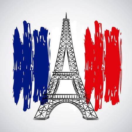 bastille day celebration tower eiffel flag french vector illustration Vector Illustration