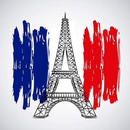 bastille day celebration tower eiffel flag french vector illustration
