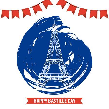 bastille day french celebration tower eiffel pennant blue grunge vector illustration