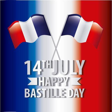 bastille day french celebration flag crossed independence symbol vector illustration