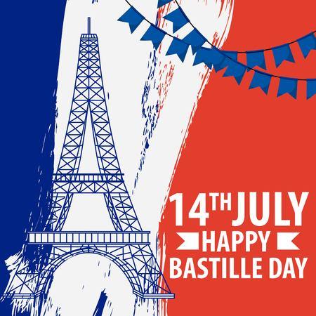 bastille day french celebration french eiffel flag and garland decoration card