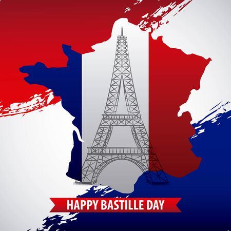 bastille day french celebration map flag french day revolution vector illustration