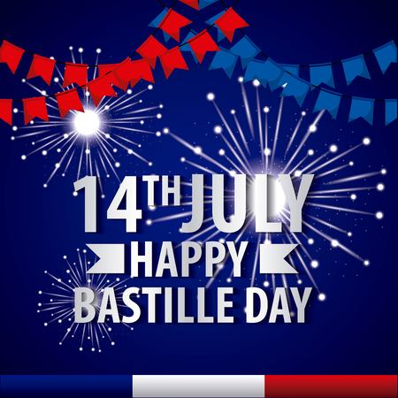 bastille day french celebration fireworks pennants july vector illustration