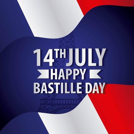 bastille day french celebration flag national symbol vector illustration