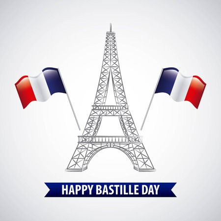bastille day french celebration two flags tower eiffel white background vector illustration