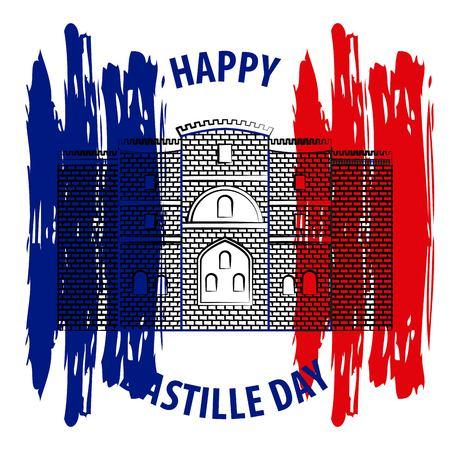 Bastille day french celebration castle bastille french flag vector illustration Vector Illustration