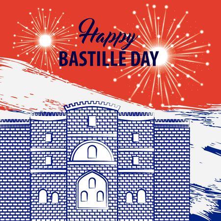 Celebration fireworks on castle bastille day french flag vector illustration