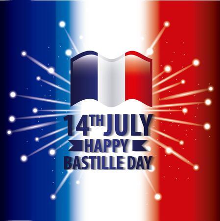bastille day french - france flag fireworks blurred background vector illustration