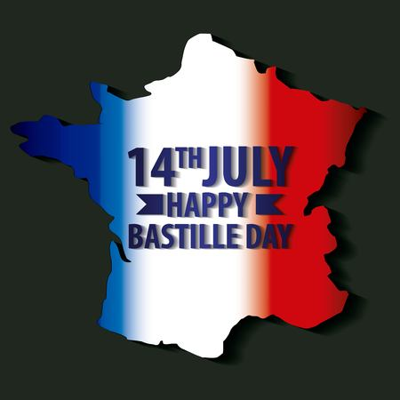 bastille day french celebration degraded map france on black background vector illustration