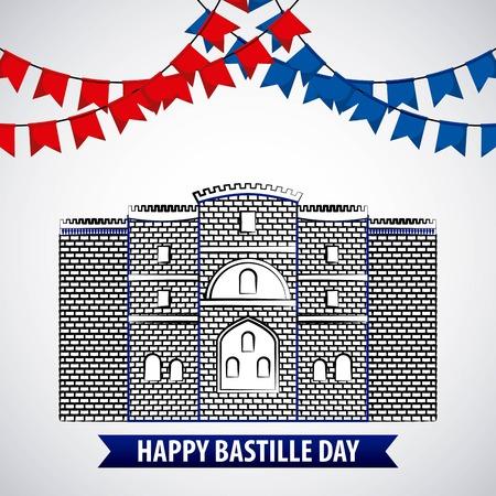 フランスのお祝いペナント城バスティーユフェストベクターイラスト  イラスト・ベクター素材