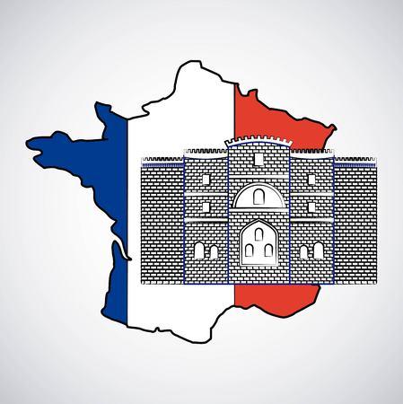 bastille day french celebration map of france castle insignia vector illustration